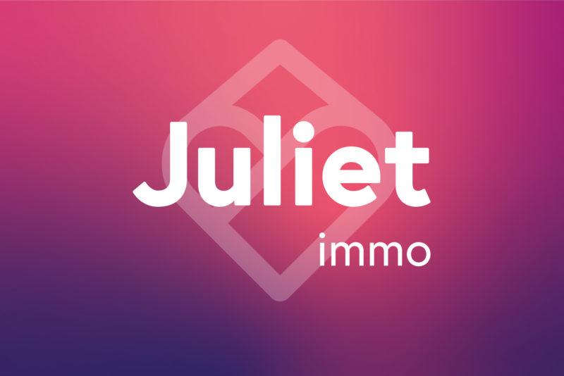 Logo Juliet Immo sur fond rose
